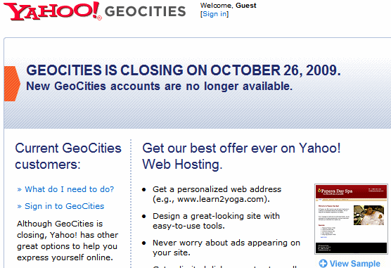 Geocities closes Negotiation