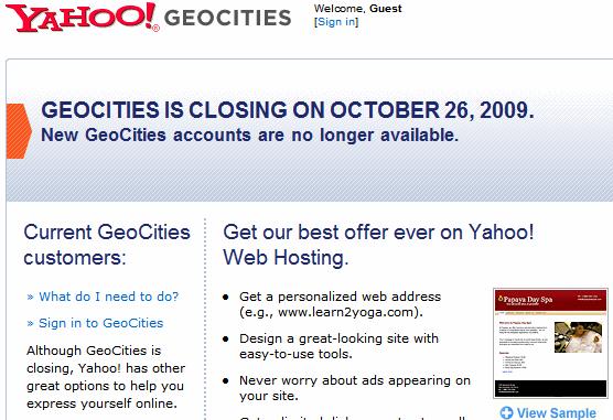 Geocities closes Negotiation